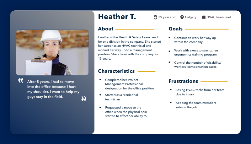 Persona of Heather, the team lead