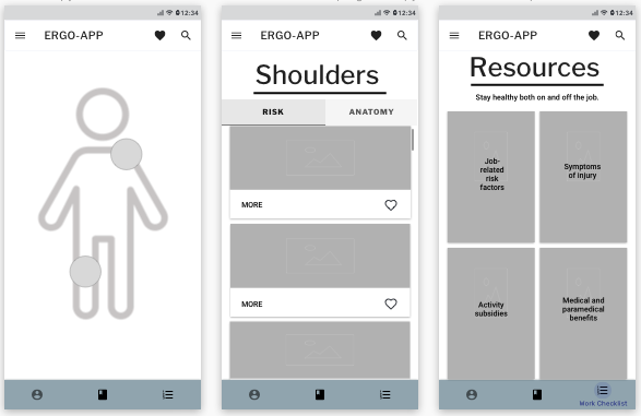 Wireframes created in Sketch of the home, shoulders and resources screens