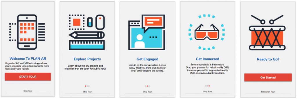 Onboarding screens to help guide the user