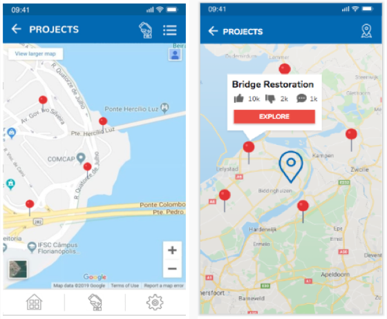 Original and updated map view with pin opened by default