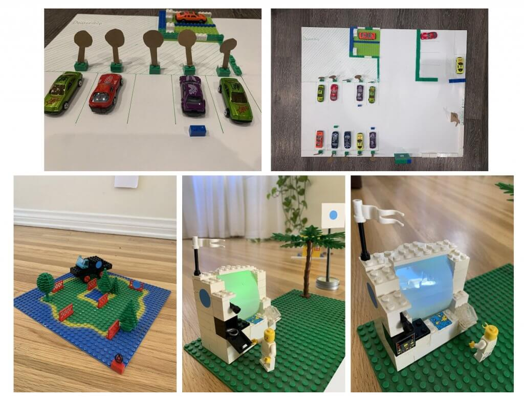 Lego and toy car modelling of parking lot layout and lockbox